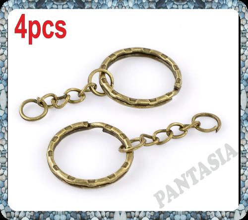 4 anneaux portes clés métal couleur bronze antique 20mm avec chaine