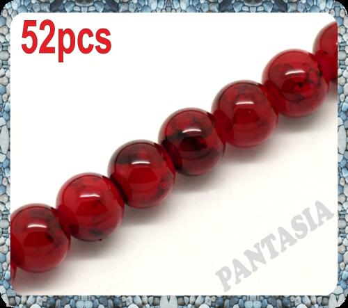 Lot de 25 perles rondes rouges marbrés en verre 8mm