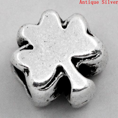 Lot de 10 Perles trèfles en métal argenté 11x10mm