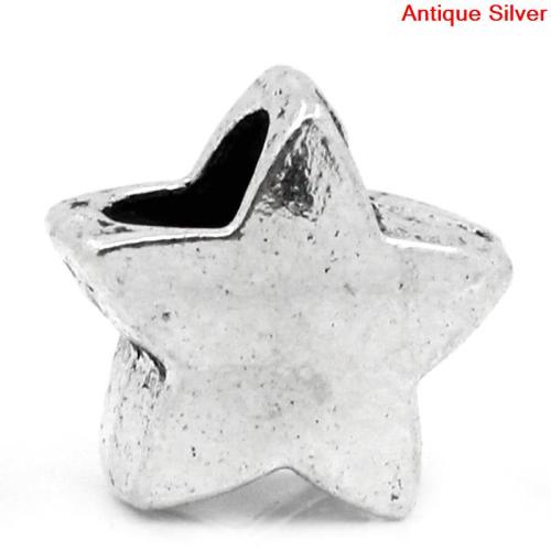 Lot de 5 Perles étoiles en métal argenté 11mm