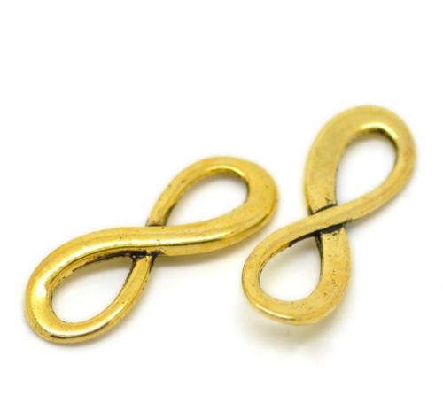 Lot de 4 Connecteurs infinity métal doré 23x8mmTaille de trou:7.5mmx4mm,  épaisseur:2mm