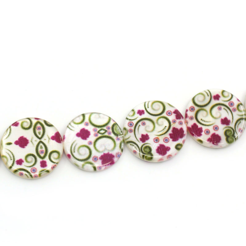 Lot de 4 Perles nacres palet 20mm avec motif fleur
