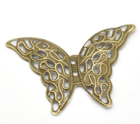 Lot de 10 connecteurs papillon filigrane bronze 4.1x2.9cm
