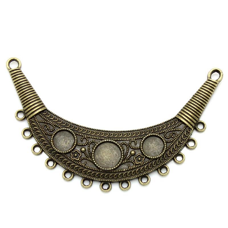 Connecteur  plusieurs trous forme lune s\'adaptent aux cabochons Bronze antique,8.8x2.5cm