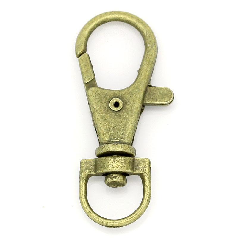 lot de 4 grands mousquetons porte clefs métal bronze 37x17mm porte clé