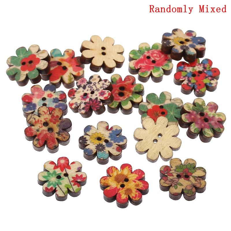 10 jolis boutons de couture en bois forme fleur multicolore,20mm