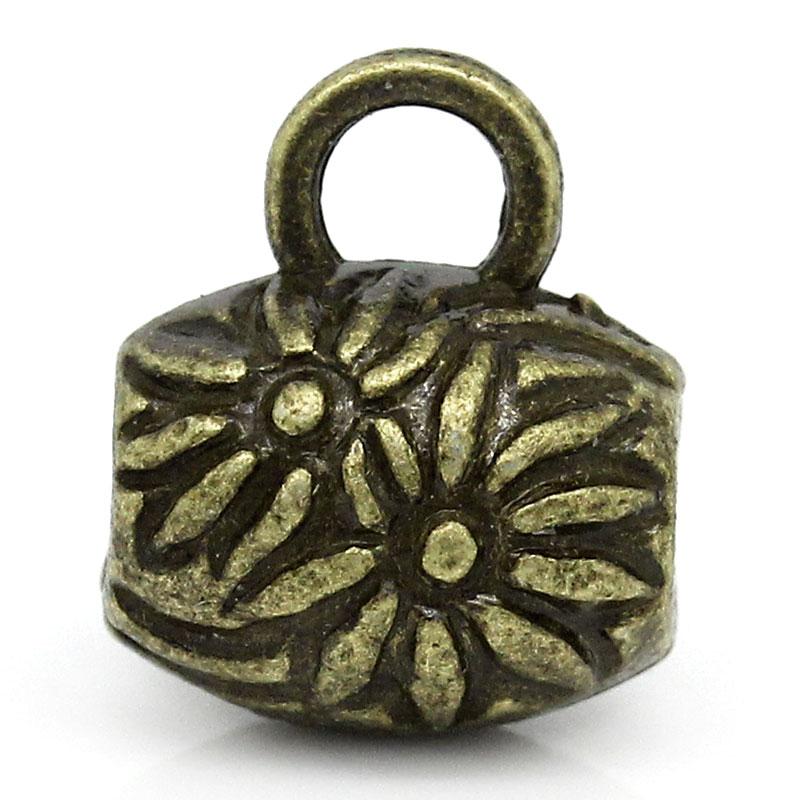 Bélières allongées en forme de tonneau, motifs fleurs, attaches breloques coloris bronze 10x8mm