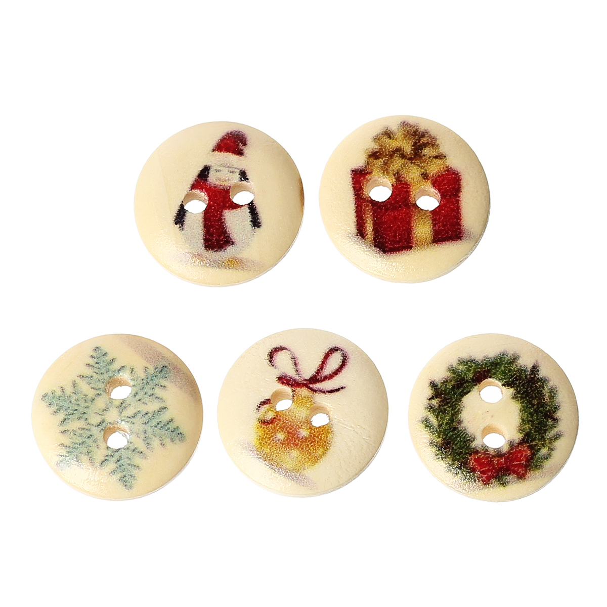 Lot de 15 jolis boutons de couture en bois forme ronde, motifs noël, neige, sapin, 15mm