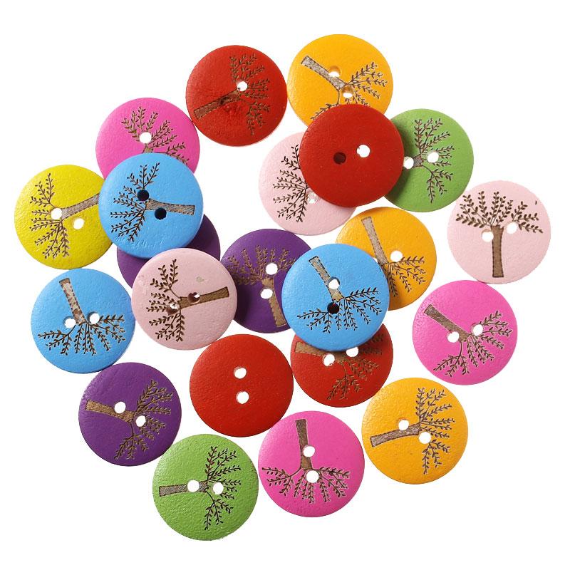 Lot de 10 jolis boutons de couture en bois forme ronde motif arbre nature,20mm
