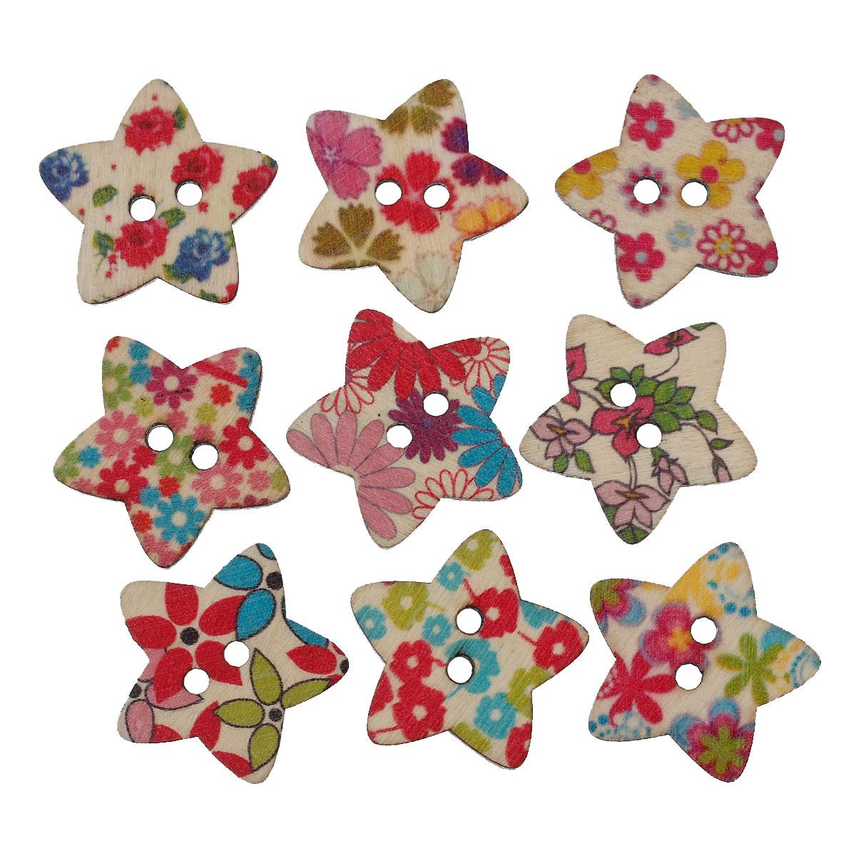 6 jolis boutons de couture en bois forme étoile motif fleuri nature,30x28mm