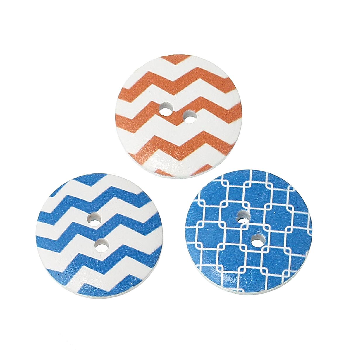 12 jolis boutons de couture en bois forme ronde, motifs rayure et torsade couleurs en mélange, 20mm
