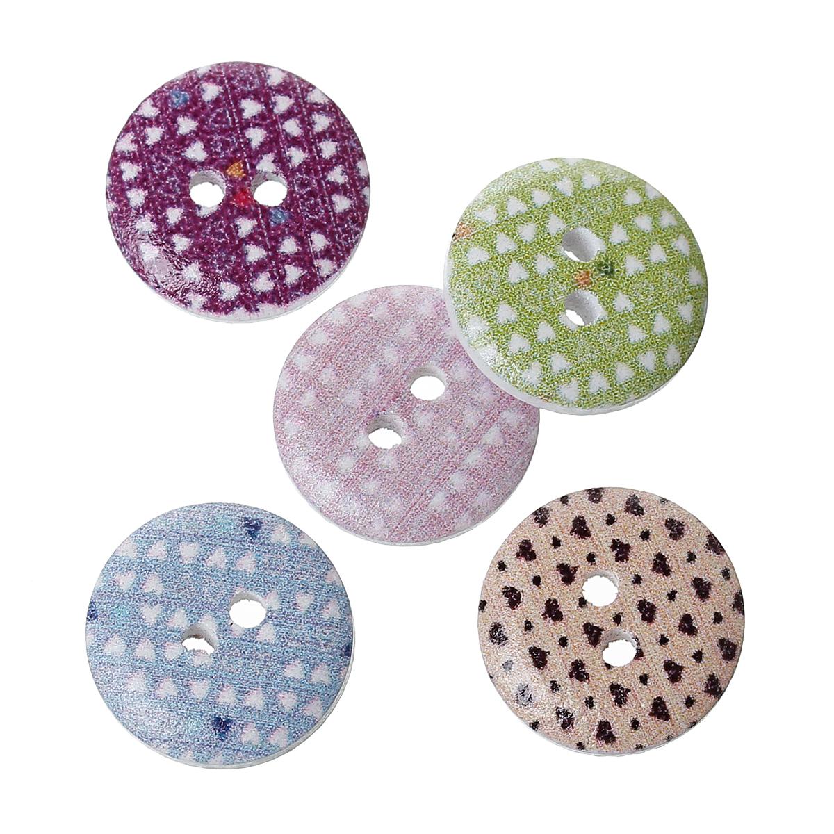 15 jolis boutons de couture en bois forme ronde, motifs petits coeurs, 15mm