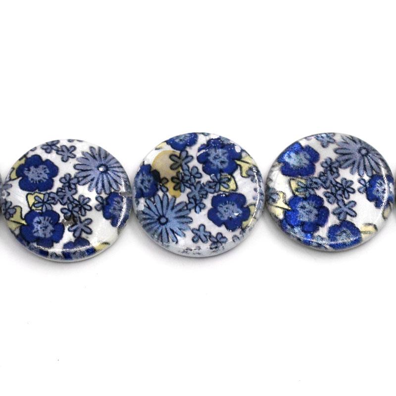 Lot de 2 Perles nacres grand palet 25mm motif bleu à fleurs esprit liberty
