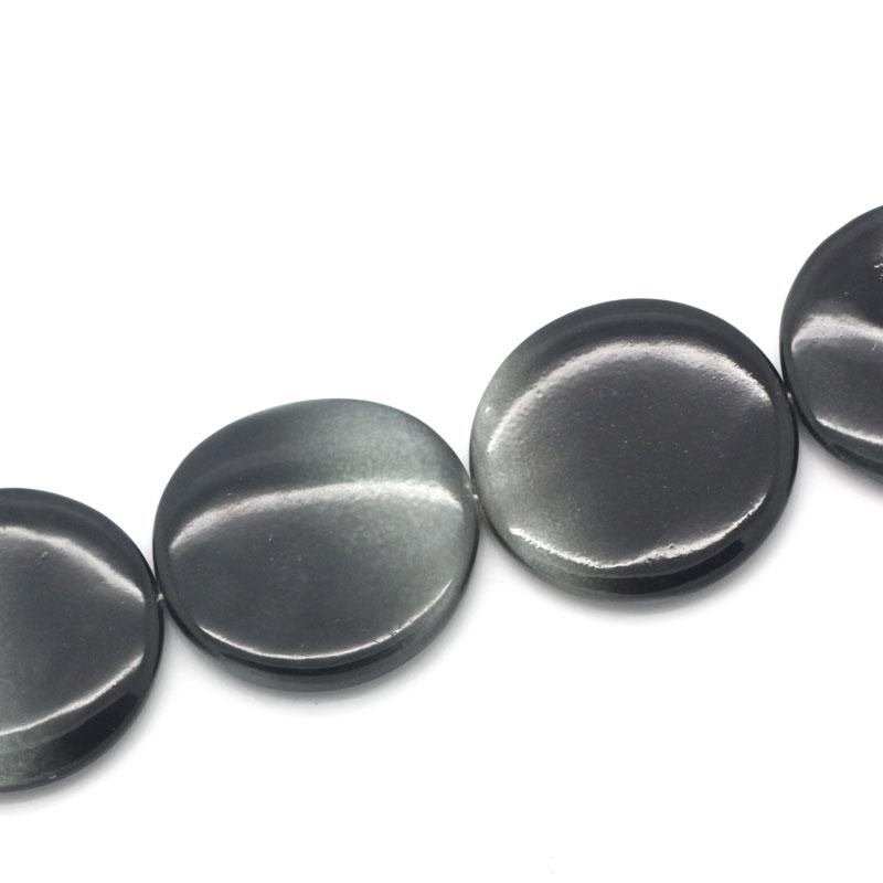 Lot de 2 grosses Perles nacres plates diamètre 30mm noir gris dégradé