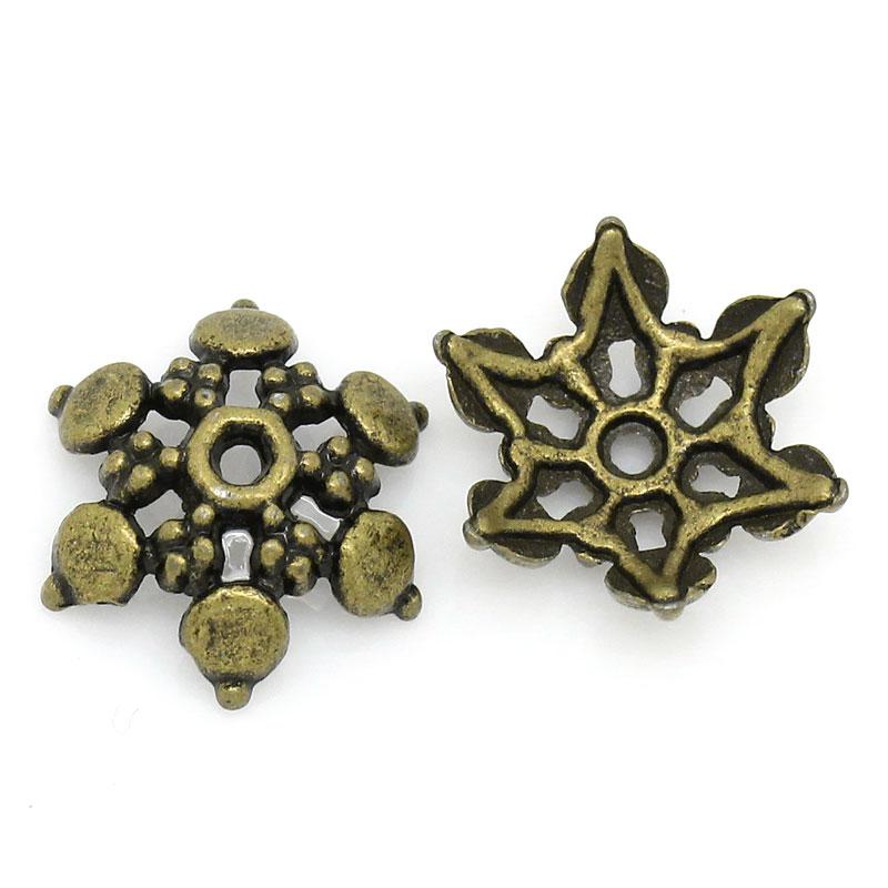 Lot de 10 Coupelles en Alliage de Zinc Forme Fleur Bronze antique 12.0mm x 11.0mm