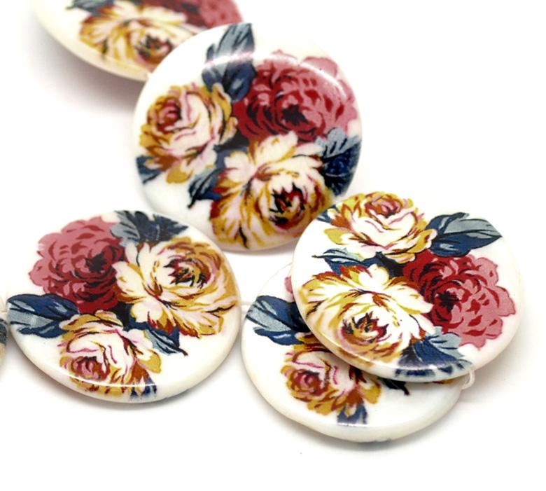 Lot de 2  perles en coquillage rondes 3 fleurs multicolore  30 mm