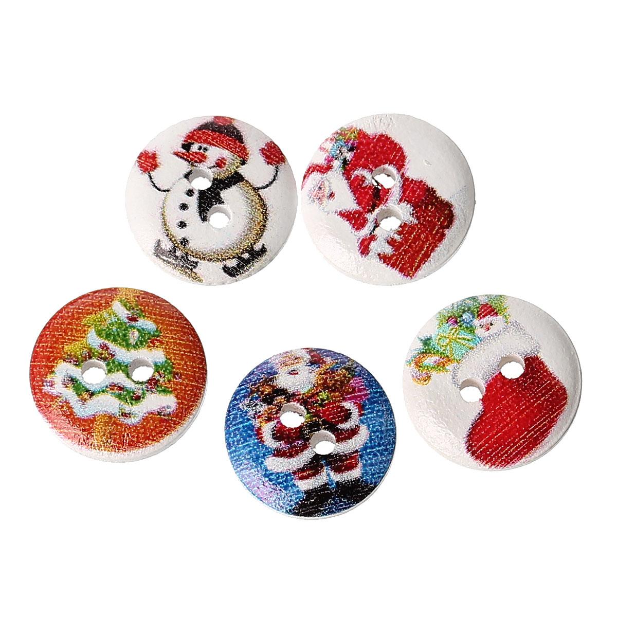 Lot de 15 jolis boutons de couture en bois forme ronde, motifs noël, 15mm