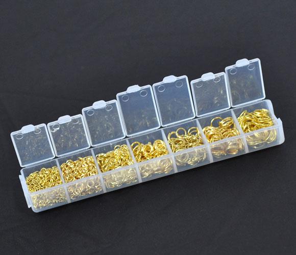 Boite de 1500 Anneaux brisés assortis de 3 à 9mm métal doré