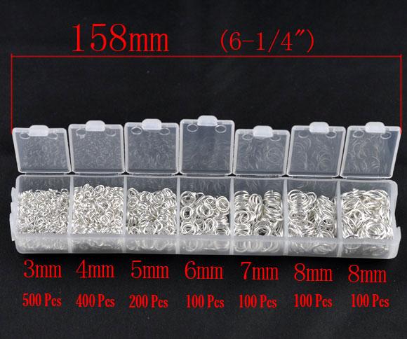 Boite de 1500 Anneaux brisés assortis de 3 à 8mm métal argenté