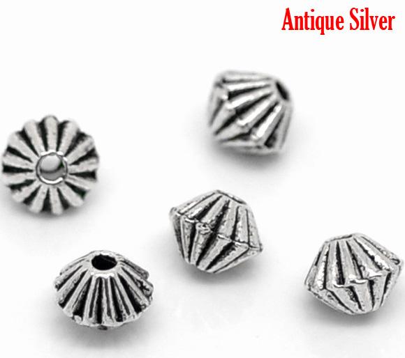 Lot de 30 perles bicones en métal argenté 4x6mm