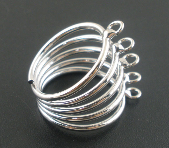 Bague support 5 anneaux ajustable en métal argenté