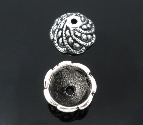 Lot de 10 Coupelles cône 10mm en métal argenté
