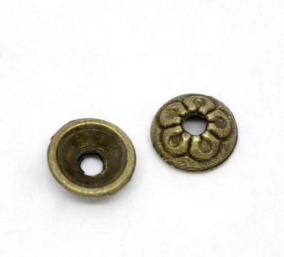 Lot de 10 Coupelles rondes 7mm en métal couleur bronze