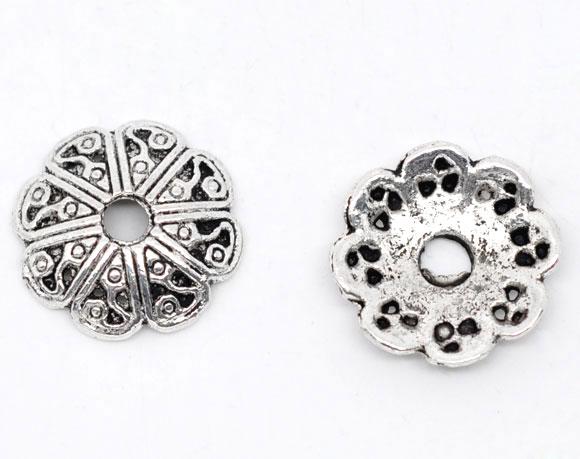 Lot de 12 Coupelles en métal argentés 12x2.5mm