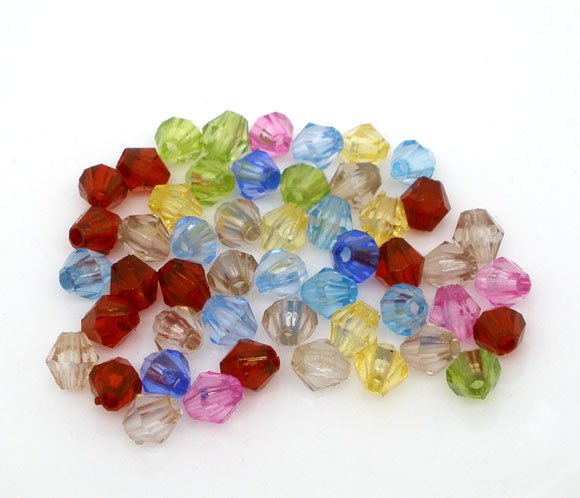 Lot de 100 Perles toupie acrylique 5x5mm multicolore