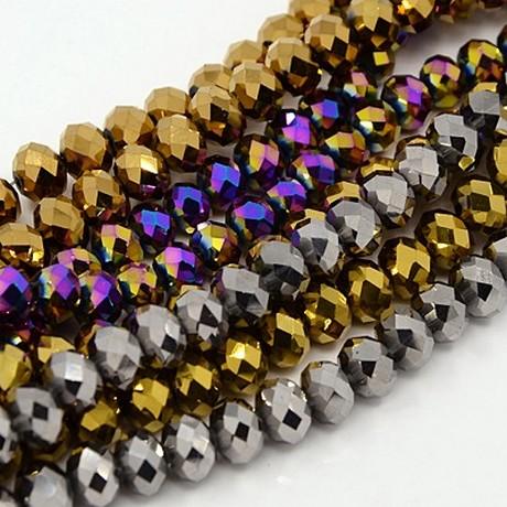 Lot de 40 perles en verre à facettes cuivre, or, bleuté-4x6mm