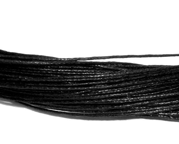 10 Mètres Fil de coton ciré noir 1mm