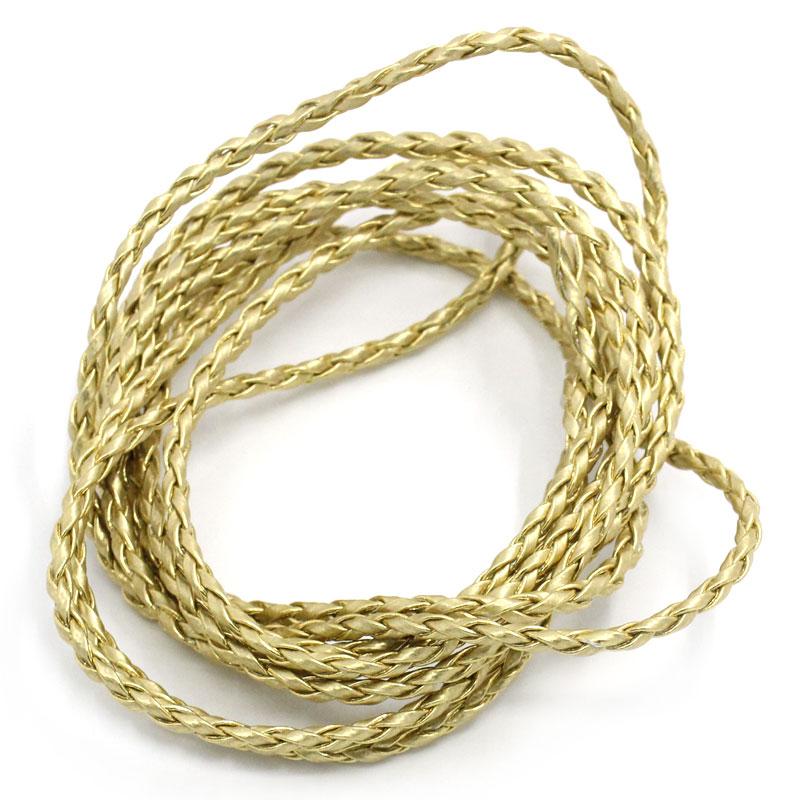 A la coupe, 1 m de cordon en cuir synthétique tressé OR 3 mm