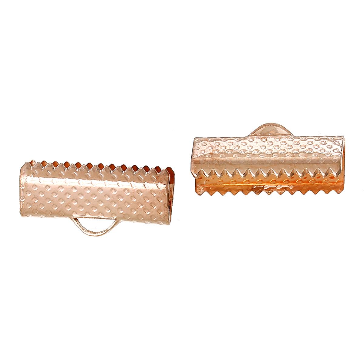 Lot de 20 Embouts Griffes Rubans 16x8mm  couleur OR rose, Attaches pince lacets