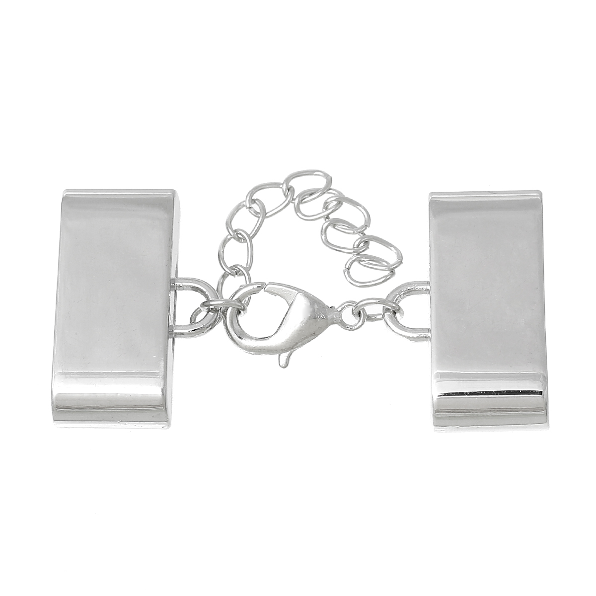 Embouts pour Cordons Collier avec Fermoir Mousqueton et Chaîne d\'Extension Rectangle  27x17mm