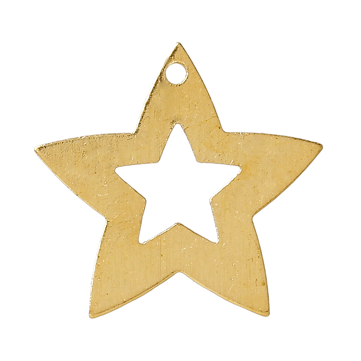 Lot de 10 breloques en forme d\'étoiles contour large et vide à l\'intérieur.