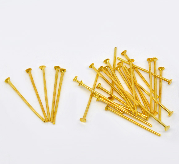 Lot de 10  tiges à tête plate 20mm métal doré