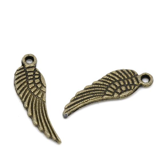 Lot de 10 Breloques ailes ange en métal couleur bronze 17x5mm