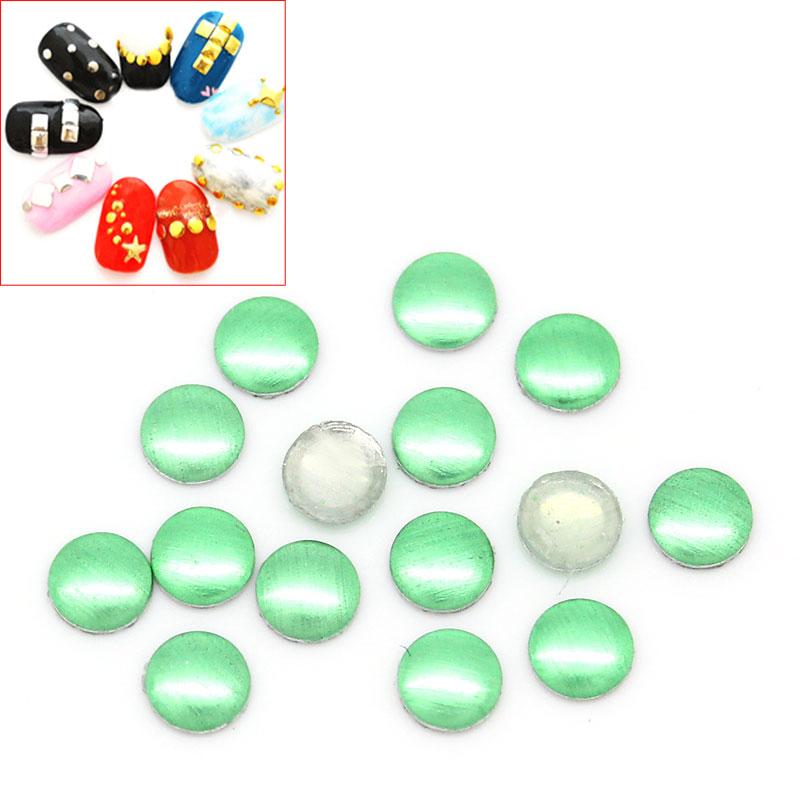 Lot de 100 Strass thermocollant vert métalisé rond ou clous à coller, stickers 2mm