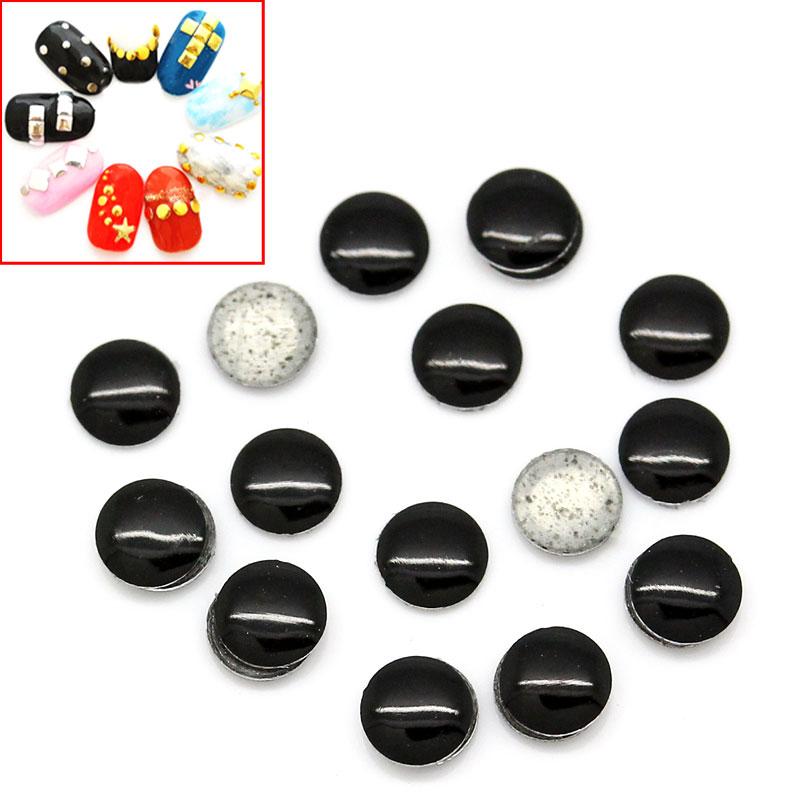 Lot de 100 Strass thermocollant noir  rond ou clous à coller, stickers 2mm