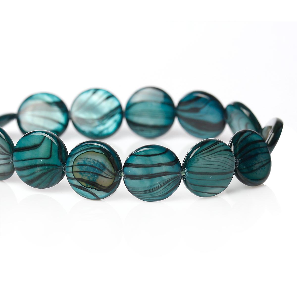 Lot de 8 Perles nacres palet 10mm kaki vert paon  zébré noir