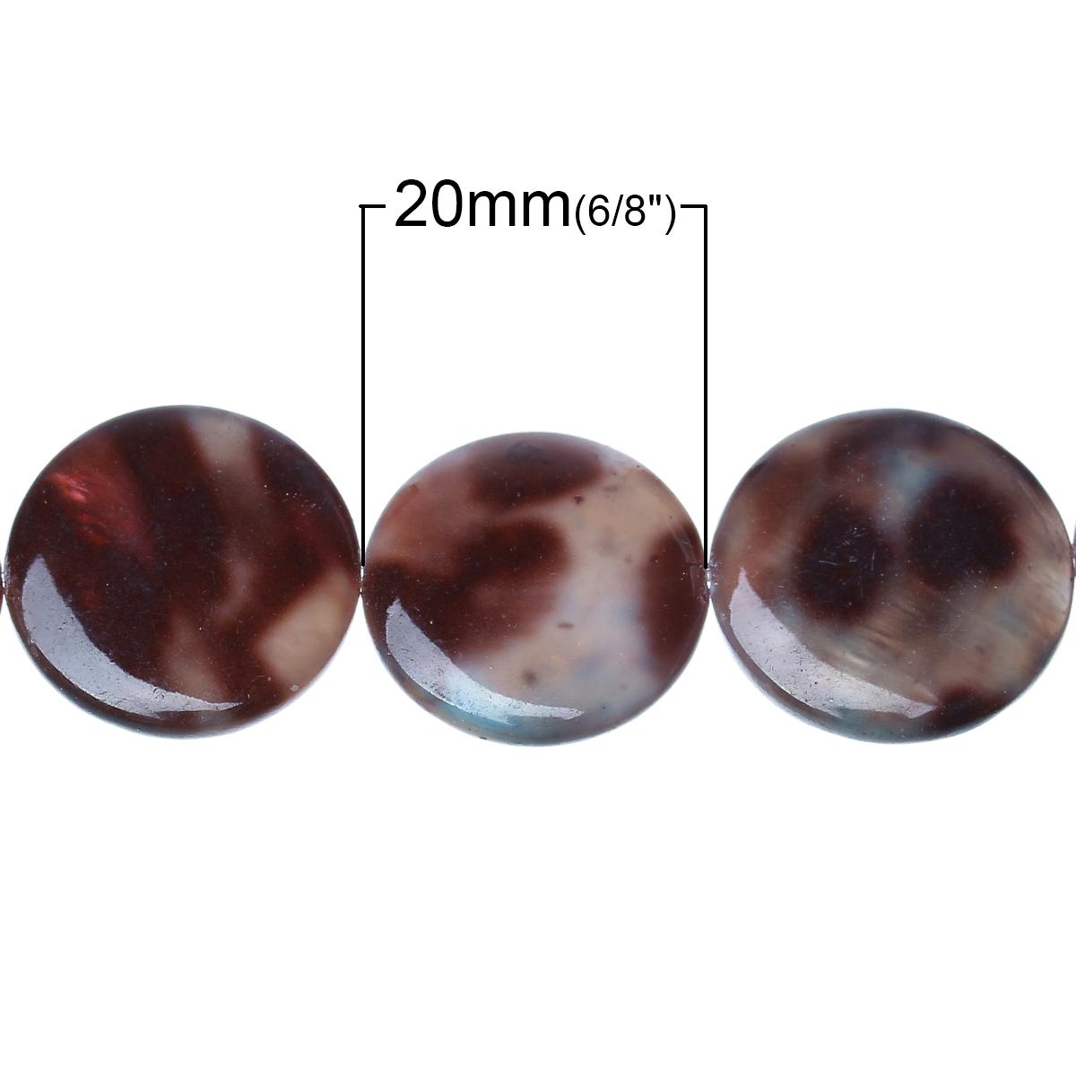 Lot de 2 Perles nacres grand palet 20mm motif léopard marron
