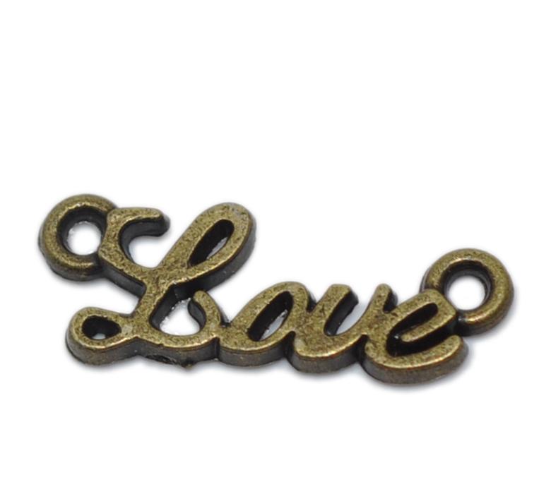 Lot de 10 Connecteurs en forme de mot LOVE Bronze antique 8x20mm