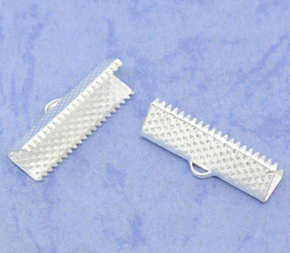 Lot de 10 Embouts Griffes Rubans couleur métal argenté 22 mm x 7,5mm