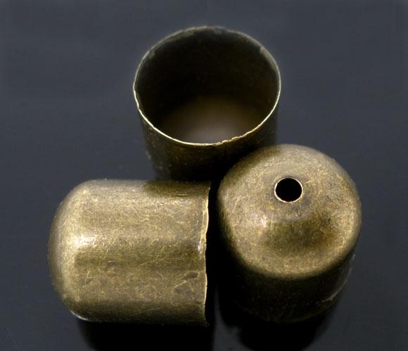 Lot de 14 attaches  embouts  calottes en métal coloris bronze