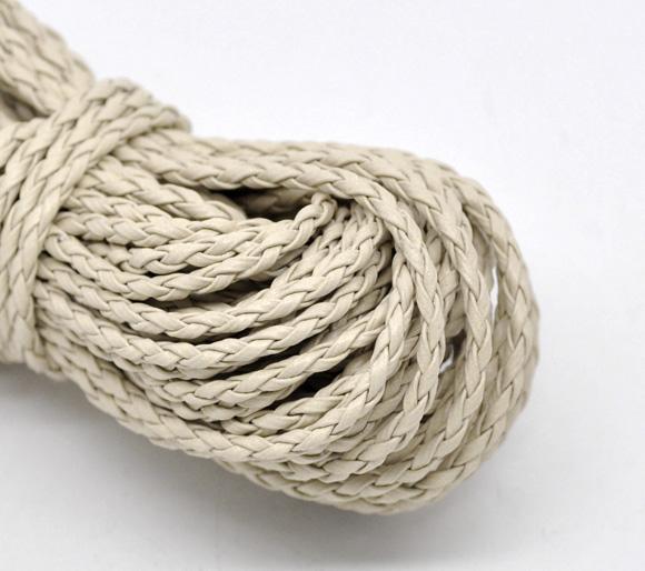Un mètre de cordon en cuir synthétique tressé beige 3 mm