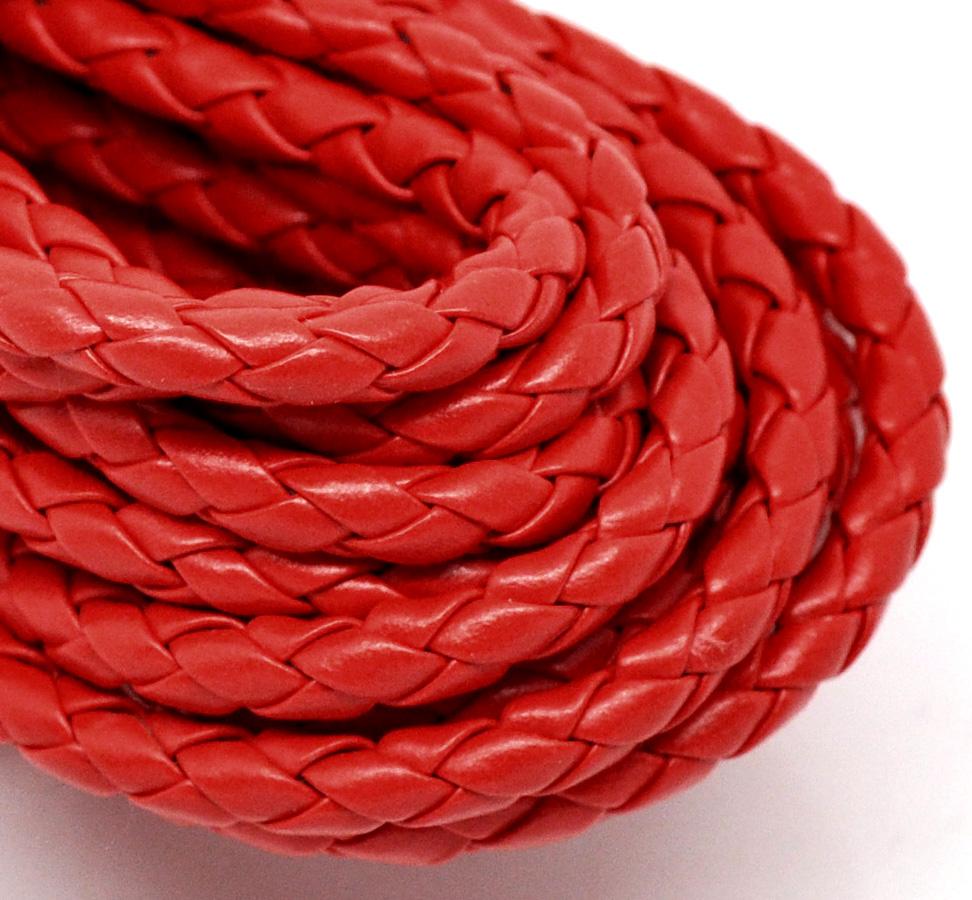 Un mètre de cordon en cuir synthétique tressé rouge 5 mm