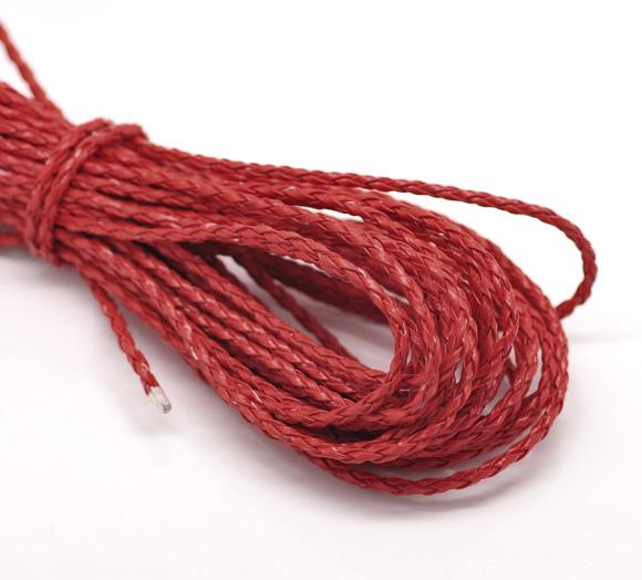 Un mètre de cordon en cuir synthétique tressé rouge 3 mm