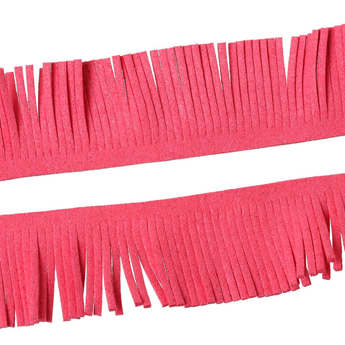 20 cm de frange en suédine velvet  couleur pastèque
