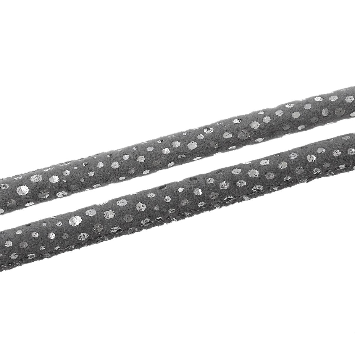 Lot de 4 m de cordon en PU aspect suédé gris à pois argentés
