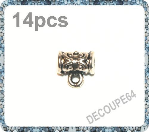 Perles tubes avec anneaux en métal argenté Lot de 14